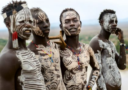 Kolcho, Ethiopia - August 12, 2014: Unidentified Karo boys near the village of Kolcho, Ethiopia, on the river Omo. Karo tribe people are famous for their body painting